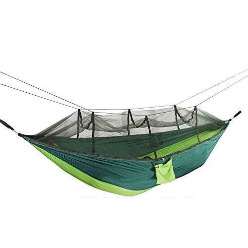 HUANXI Multifonction Célibataire Hammock avec Sac De Rangement + Sangle,300kg Capacité de Charge (260x140cm) Vert Foncé Amaque pour Le Camping Randonnée