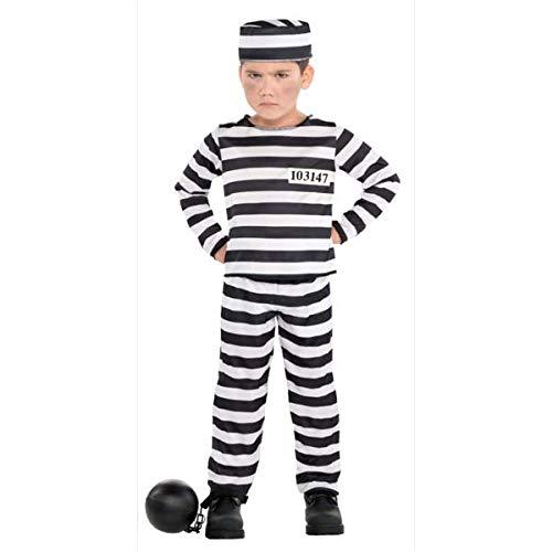 amscan 8400006 Boys Mischief Maker Prisoner Costume - Large (12-14) 1 set, White/Black