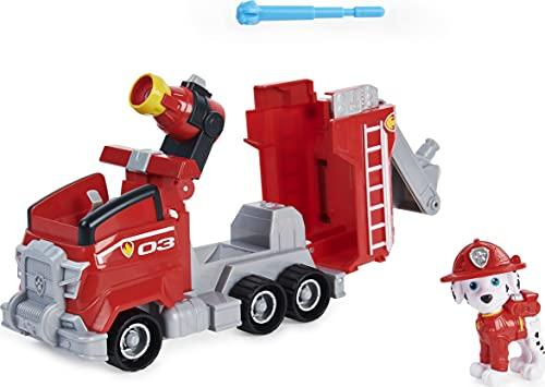 PAW PATROL Marshall's Deluxe Movie Transforming Fire Engine Toy Car con Figura de acción Coleccionable, Juguetes para niños a Partir de 3 años