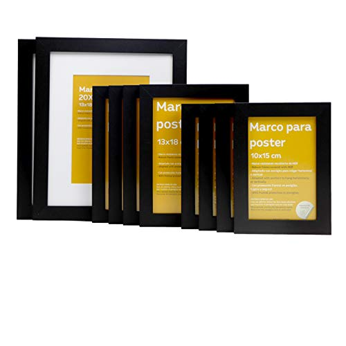 Nacnic Tamaño de Marco Negro (10 Set - |20x25cm|x2 - |13x18cm|x4 - |10x15cm|x4) Marco Negro para Fotos, Carteles, Diplomas,…