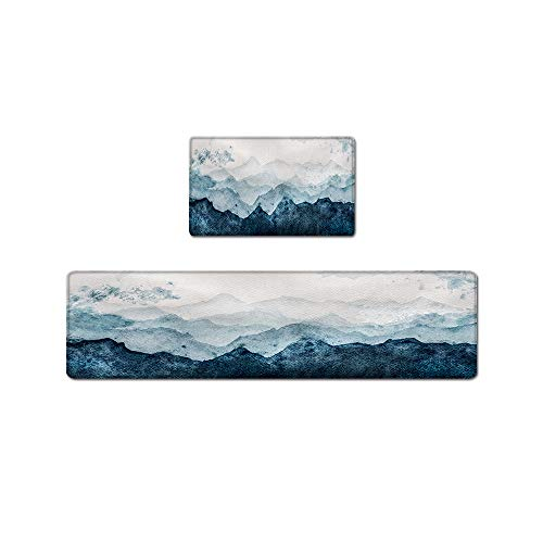 QIYI Floor Comfort Mat 1 Piece Kitchen Rug PVC Leather Waterproof Oil Proof Runner Rugs Non Skid Laundry Standing Mats Anti Fatigue Foam Cushioned Doormat 17' W x 59' L - Watercolor Mountain