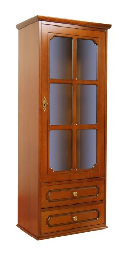 Arteferretto Hängemöbel Wohnzimmer Küche, Hängevitrine 1 Tür 2 Schubladen im Stil, klassisches Möbel für Wand/TV-Möbel/Sideboard, Hängeschrank aus Holz im Stil klassisch, B53xT32.5xH132 cm
