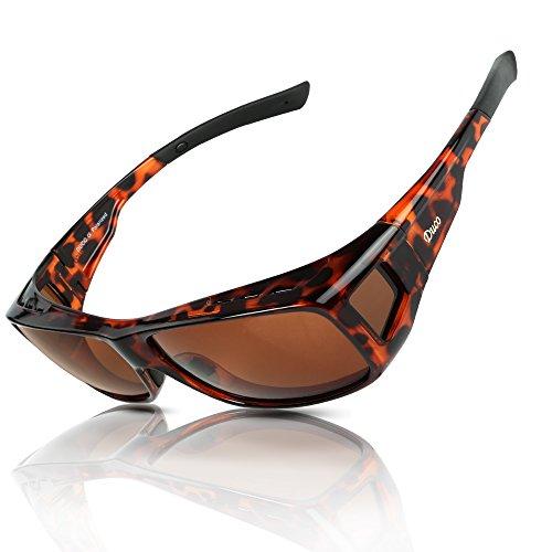 DUCO Herren und Damen Sonnenbrillen Polarisiert Unisex Brille Überbrille für Brillenträger Fit-over Polbrille 8953 (L - Tortoise)