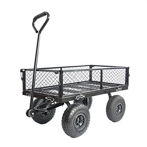 Carretilla de mano de acero, carretilla de transporte con neumáticos de aire, carro para herramientas, carrito de jardín, 94 x 49,5 x 102 cm