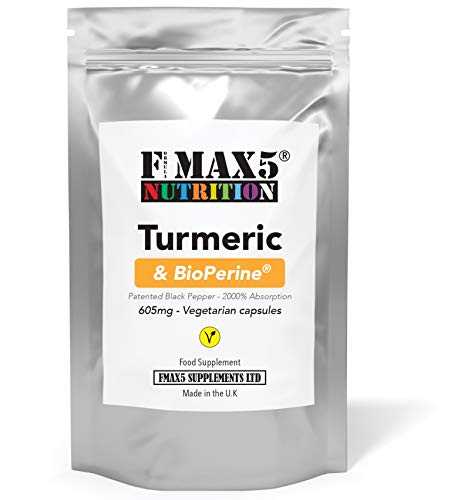 Turmeric 600mg & BioPerine 5mg (Patented Black Pepper Extract) Capsules   High Strength   Suitable for Vegetarian's   NO Added FILLERS - GMO Free   UK Made (60)