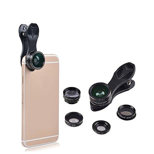 rongweiwang 5 in 1 Universal-Clip-On-Handy-Phone Lens Kit Fisheye Lens Kit Fisheye Weitwinkel-Makro-Objektiv für Tele CPL
