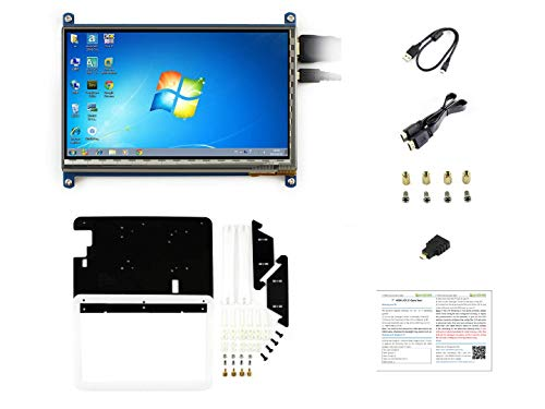 Waveshare for Raspberry Pi 7inch Capacitive Touchscreen IPS Display Rev 3.1 1024 * 600 HDMI LCD C Touch Screen with Bicolor Case for Raspberry Pi 3B+/3/2 B/B+/ Banana Pi/Banana Pro/BB Black