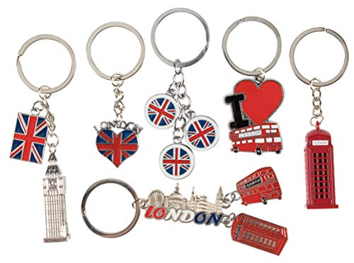London Keychains - 6-Pack Souvenir Key Rings, 6 Assorted Designs Including Double-Decker Bus, Red Telephone Booth, Big Ben, and UK Flag, Silver, Red and Blue