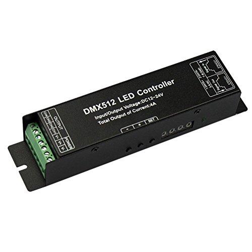 JOYLIT DMX512 Decodierer Controller Treiber, 4 Kanal 4x4A DC12V 24V Digitalanzeige für LED RGBW 5050 3528 LED Streifen