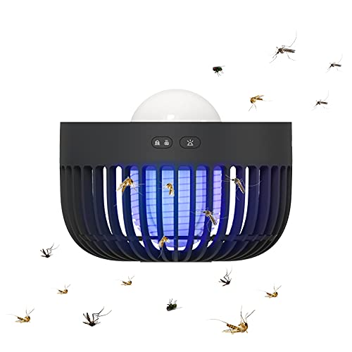 3 in 1 Outdoor Bug Zapper for Camping with LED Lantern, USB Rechargeable Mosquito Lamp Built-in 2000 mAh Battery, Cordless Portable Mosquito Zapper with Hook, Hangable - Black