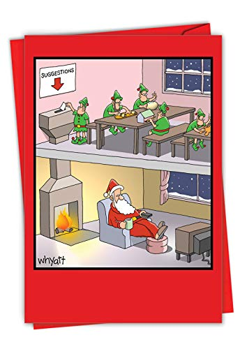 Santa Suggestion Box - Funny Merry Christmas Note Card with Envelope (4.63 x 6.75 Inch) - Humorous Santa Claus and Elves Workshop, Happy Holidays Note Card - Seasons Greeting Notecard Stationery 1665