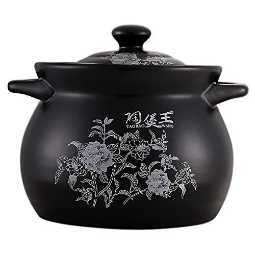 Gardenia Ollas para sopa de cerámica esmaltada en negro Olla para guisar Cazuela para guisar Olla de cerámica para cocinar Utensilios de cocina Cocotte Ceramique (Capacidad: 5000 ml, Color: Gardenia b