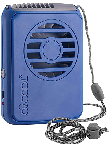 O2COOL Rechargeable Necklace Fan - Portable Hanging Neck Fan with Adjustable Lanyard - 3 Speed Vertical Air Flow – Micro USB Charging Cable Included (Blue)
