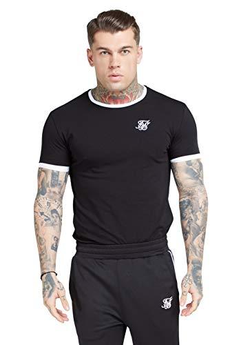 Sik Silk de los Hombres Camiseta de Gimnasia con Ribete Recto en el bajo, Negro