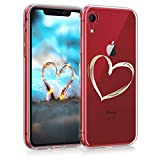 kwmobile Cover Compatibile con Apple iPhone XR - Back Case Custodia Posteriore in Silicone TPU per Smartphone - Backcover Cuore Oro/Trasparente