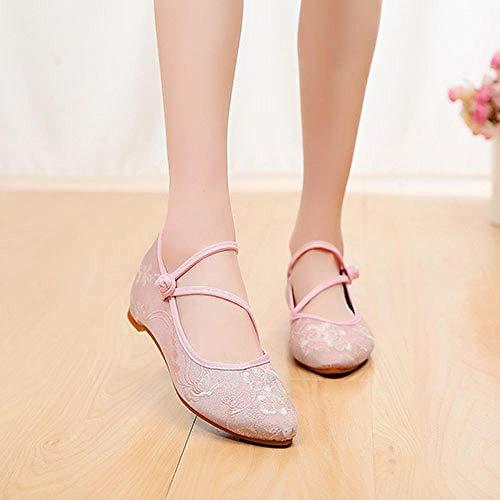 Haftowane buty dla kobiet Żakardowa bawełniana tkanina damska szpiczasta palca balet mieszkania wygodne casual haftowane płaskie buty damskie miękkie baleriny haftowane obcasy Lynlyn.