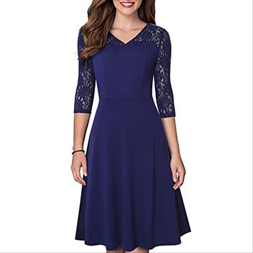 QUNLIANYI Abendkleid Abiballkleid Sommer Frauen Sexy Spitze Patchwork Elegantes Kleid Vintage Casual Party Kleid XL Dunkelblau