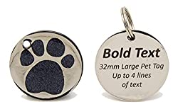 "Click ""Customize Now"" to see how your gift will look before making any purchase - Design Your Gift Now! Suitable for LARGE Dogs - 32mm Glitter Paw Pet Tags, Including Split Ring Permanent Bold Contrasting Text makes Your Message Stand Out Up to 6 lin..."