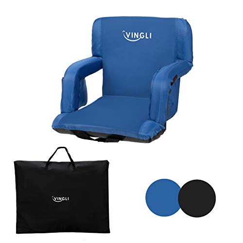 PEXMOR Stadium Seats for Bleachers with Back Support amp Carrying Bag 21#039#039 Reclining Chair with Two Pockets for Drinks Portable Padded Shoulder Straps Armrests Waterproof AntiSlip Bottom Blue