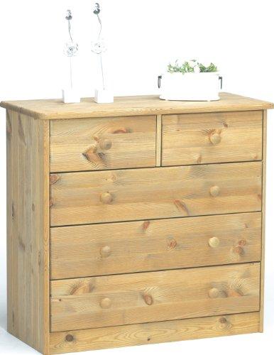 Steens Mario Kommode, 3 breite, 2 kleine Schubladen, 78 x 73 x 34 cm (B/H/T), Kiefer massiv, gelaugt geölt