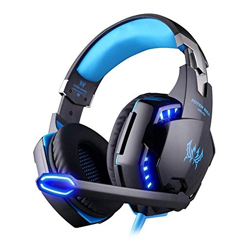 Auriculares para videojuegos, para PS4, Mac, PC, computadora, luz LED, con micrófono desmontable, con calidad de sonido envolvente de 3,5 mm de control de volumen (color: azul) (color: azul)