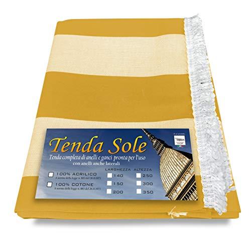 Tex family Rideau de Soleil pour extérieur, Jardin, Balcon, Ligne Large, Couleur Jaune, emballé – 140 x 350 cm
