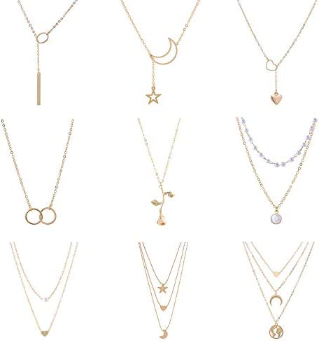 GYSONG Layered Necklaces for Women Long Necklaces Love Heart Moon Star Rose Pearl Layered Y product image