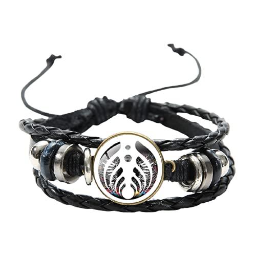 Bassnectar - Pulsera de cuero multicapa con diseño de calavera y ojos blancos y negros con 3 ojos de gato