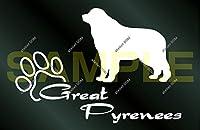 アトリエDOM 少し大きめ 犬のステッカー グレートピレニーズ [白](受注生産)