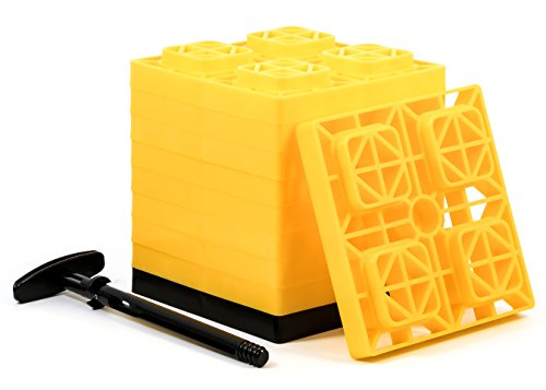 Camco FasTen 2x2 RV Leveling Block For Single Tires, Interlocking Design Allows Stacking To Desired Height, Includes Secure T-Handle Carrying System, Yellow (Pack of 10)