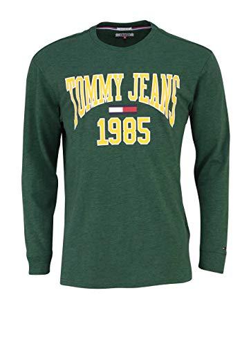 Tommy Jeans shirt met lange mouwen ronde hals tekstprint donkergroen