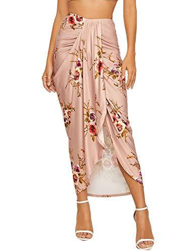 SheIn Women's Casual Slit Wrap Asymmetrical Elastic High Waist Maxi Draped Skirt Large Apriot Floral