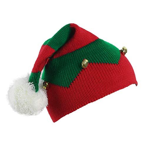 inlzdz Kinder Weihnachtsmütze Kleinkind Jungen Mädchen Elfenmütze Hut Weihnachtselfen-Beanie mit Glöckchen für Weihnachtsmarkt Weihnachtsfeier Party Rot&Grün One Size