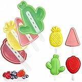 Olywee Moldes apilables, 4 piezas de moldes de silicona para cactus de fruta, cactus, juego de moldes de paletas (piña, fresa y sandía, cactus)