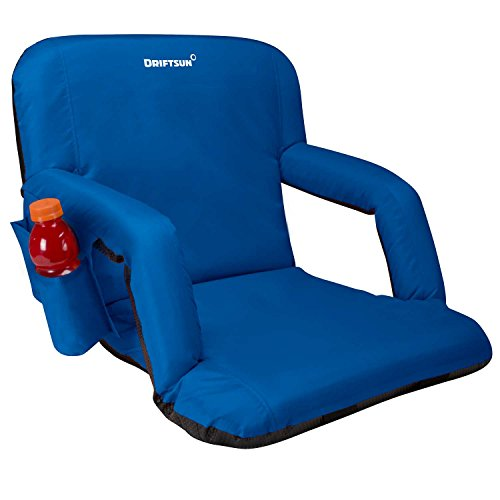 Driftsun Foldable Reclining Stadium Seat - Deluxe Reclining Bleacher Chair with Back Support, Folding Sport Chair for Bleachers, Lawns, and Backyards (Standard Width, Blue)