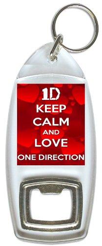 """Llavero con abrebotellas inspirado en 1D, con texto en inglés """"Keep Calm And Love One Direction"""""""