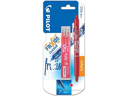 Pilot - Estuche de 3 bolígrafos roller (tinta de gel, termosensibles, punta mediana), color rojo