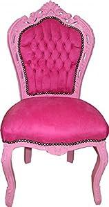 Casa-Padrino Terciopelo barroco Cena silla rosada/Rosa - Muebles