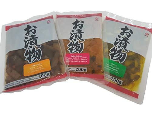 Tsukemono 3er Set: Aokappa Gurken, Fukujinzuke, Shibazuke, Tsukemono, eingelegtes japanisches Gemüse 3 x 200g