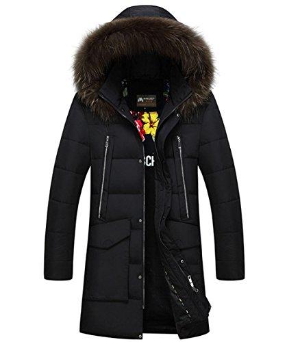 Men's Winter Warm Thick Long Down Coats Fur Hooded Zipper Windproof Winter Down Parka Jacket Padded Outerwear (X-Large, Black)