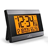 Marathon CL030052GG Atomic Digital Wall Clock with Auto-Night Light, Temperature & Humidity - Batteries Included