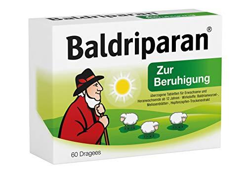 Baldriparan Zur Beruhigung – Pflanzliches Arzneimittel mit Baldrianwurzel-Trockenextrakt – Bewährte Dragees bei Unruhezuständen und nervös bedingten Einschlafstörungen – 60 St.