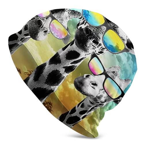 Fodmua Gorro de mujer con diseño de jirafa en gafas de sol unisex 28, gorro de orinal inocente para adultos