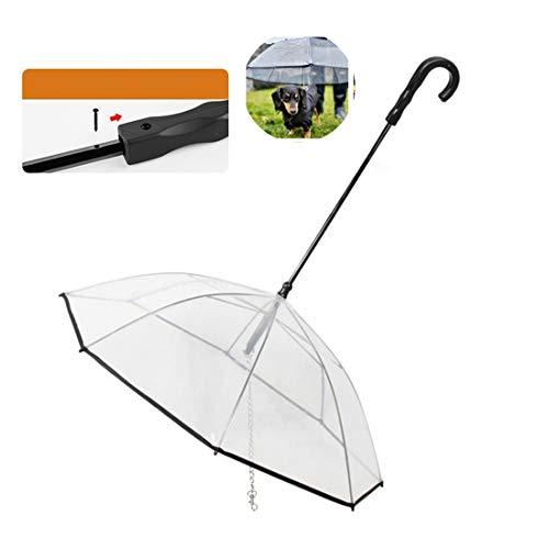 KYHS Paraguas para mascotas con correa transparente para perros y perros