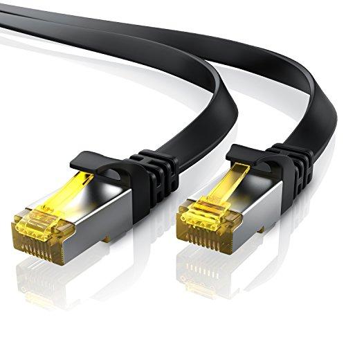 7,5m CAT 7 Netzwerkkabel Flach - Ethernet Kabel - Gigabit Lan 10 Gbit s - Patchkabel - Flachbandkabel - Verlegekabel - Cat.7 Rohkabel U FTP PIMF Schirmung mit RJ 45 Stecker - Switch Router Modem