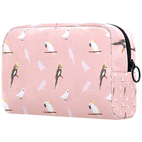 Makeup Bag for Women,Roomy Cosmetic Bag for Purse Travel (7.3x3x5.1in) Parrot Cockatiel Travel Storage Case Portable Toiletry Pouch Travel Cosmetic Pocket Handbag