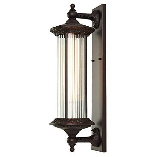 Wandlamp, waterdicht, voor buiten, E27, wandlamp buiten, netvoeding, tuinlamp met kabel, waterafstotend, klassiek, met aluminium houder, glazen kap