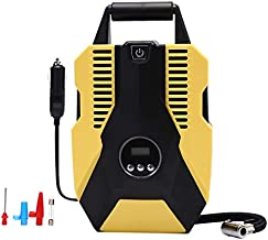 Haiabei Tire inflator, 12V Portable Air Compressor,DC/AC Car Air Pump 15 PSI with LED Light,Digital Pressure Gauge, Presetting and Automatic Stop Function for Cars,Bicycles and Other inflatables