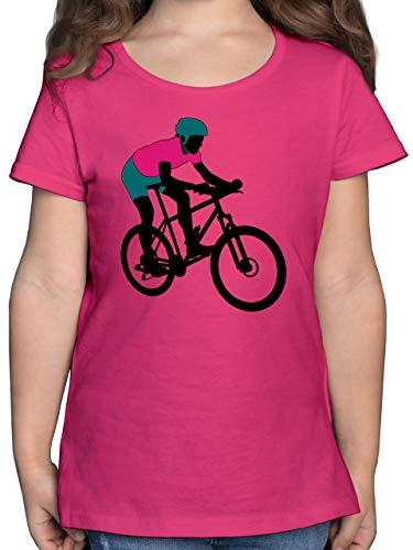 Sport Kind - Mountainbike MTB Geländefahrrad - 116 (5/6 Jahre) - Fuchsia - Silhouette - F131K - Mädchen Kinder T-Shirt