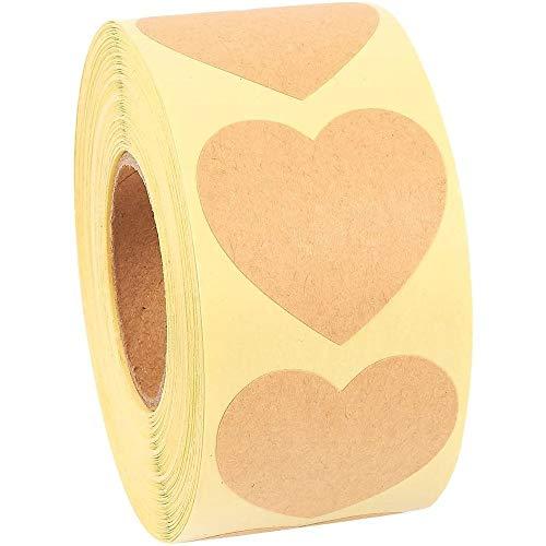 Kraft Heart Sticker Roll, Valentine's Decorations (1.5 in, 500 Pieces)
